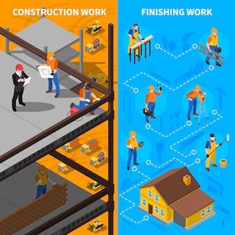 Jeu de bannières isométriques de travailleurs de la construction