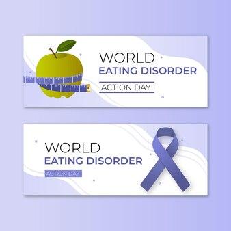 Jeu de bannières de jour d'action pour les troubles alimentaires du monde dégradé