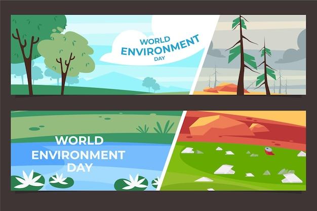 Jeu de bannières de la journée de l'environnement du monde plat organique