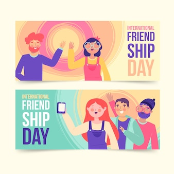 Jeu de bannières de la journée internationale de l'amitié