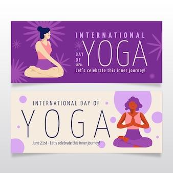 Jeu de bannières de la journée internationale plat bio de yoga