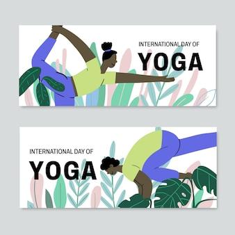 Jeu de bannières de la journée internationale de yoga dessinés à la main