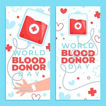Jeu de bannières de la journée mondiale des donneurs de sang de dessin animé