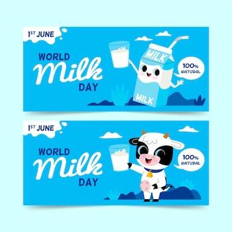 Jeu de bannières de la journée mondiale du lait plat
