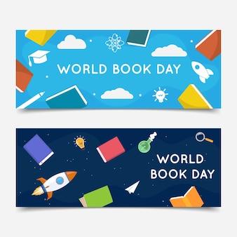 Jeu de bannières de la journée mondiale du livre plat