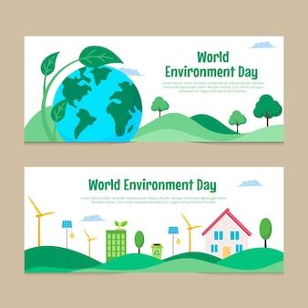 Jeu de bannières de la journée mondiale de l'environnement plat