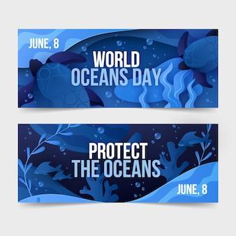 Jeu de bannières de la journée mondiale des océans dégradé