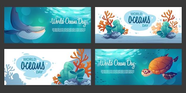 Jeu de bannières de la journée mondiale des océans de dessin animé