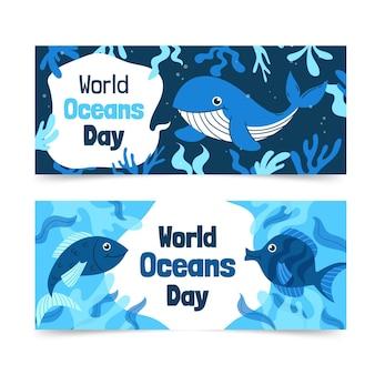 Jeu de bannières de la journée mondiale des océans dessinés à la main
