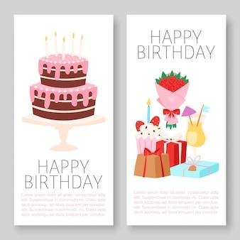 Jeu de bannières joyeux anniversaire