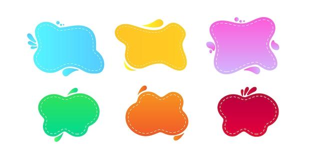 Jeu de bannières liquides colorées abstraites isolées