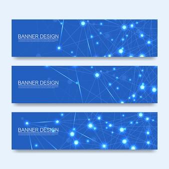 Jeu de bannières de molécules abstraites. modèle de bannière web concept futuriste science technologie numérique