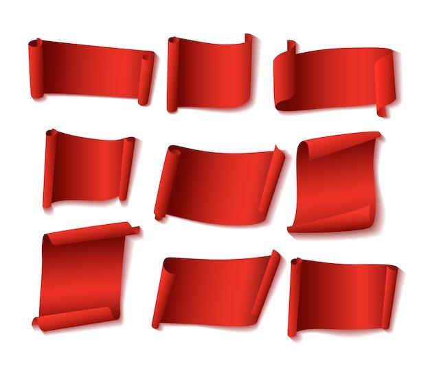 Jeu de bannières en papier rouge