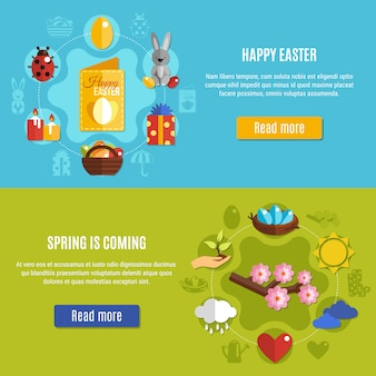 Jeu de bannières de pâques au printemps