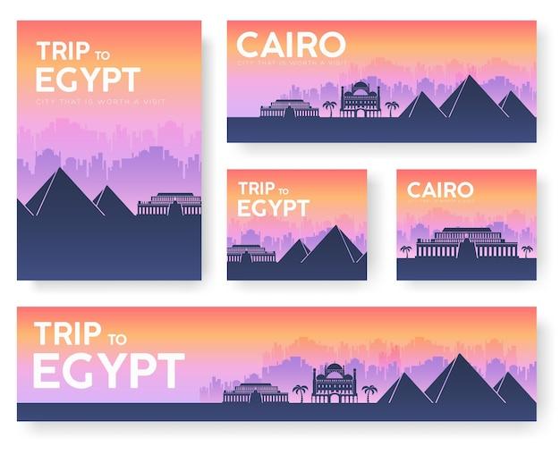 Jeu de bannières de paysage egypte