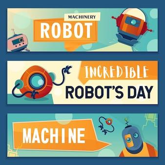 Jeu de bannières de personnages robotiques