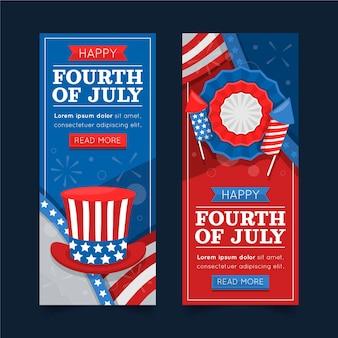 Jeu de bannières plat 4 juillet pour la fête de l'indépendance