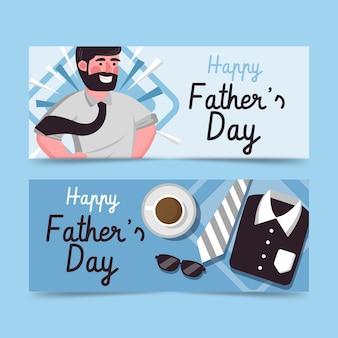 Jeu de bannières plat fête des pères