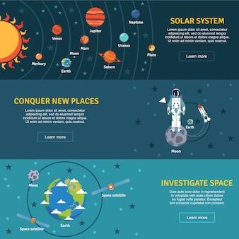 Jeu de bannières plates du système solaire