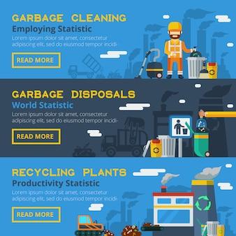 Jeu de bannières de recyclage des ordures