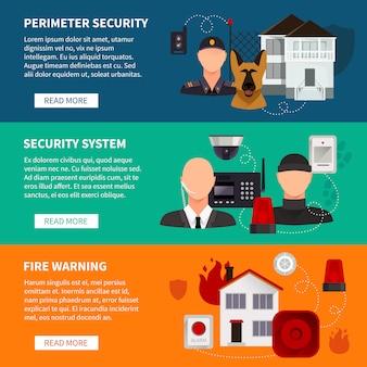 Jeu de bannières de sécurité à la maison de l'avertissement de feu de système électronique de sécurité