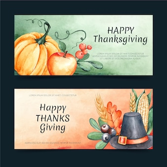 Jeu de bannières de thanksgiving aquarelle