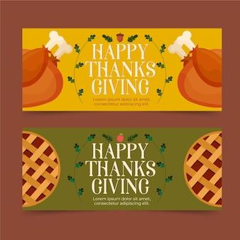 Jeu de bannières de thanksgiving design plat