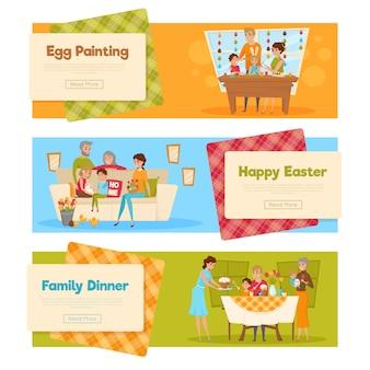 Jeu de bannières de vacances de pâques