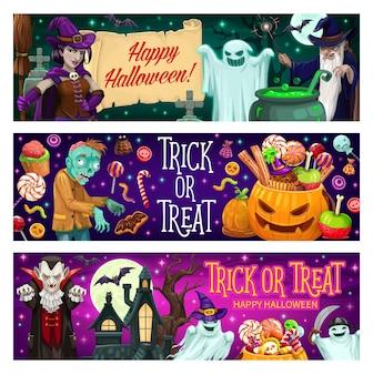 Jeu de bannières de vecteur de dessin animé happy halloween party