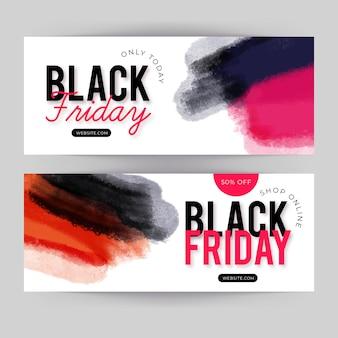 Jeu de bannières de vendredi noir aquarelle tache