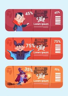 Jeu de bannières de vente halloween concept de collecte de rabais saisonniers