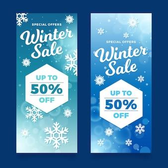 Jeu de bannières de vente d'hiver