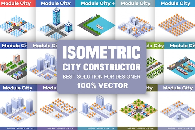 Jeu de blocs isométrique