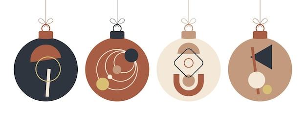 Jeu de boules de concept de noël boho doodle. décoration jouets avec glands, frange isolé sur fond blanc. décoration festive aux couleurs pastel et terre cuite. illustration vectorielle de nouvel an.