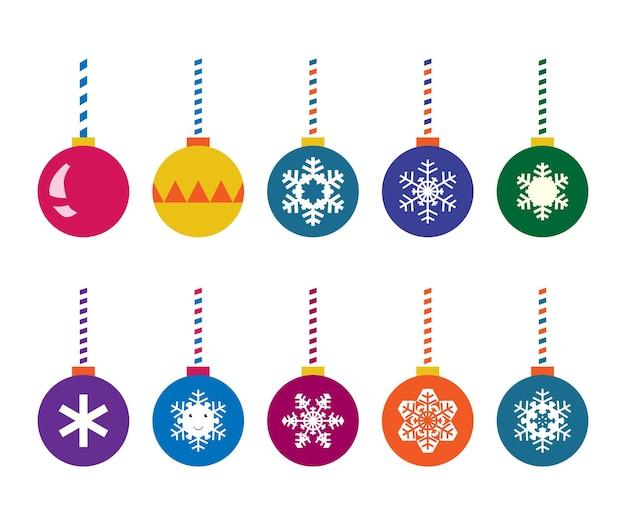 Jeu de boules de noël. multicolore, avec des flocons de neige et des dessins. illustration vectorielle eps 10, pas de transparence