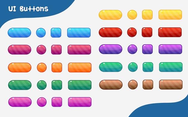 Jeu de boutons d'interface utilisateur graphique coloré de vecteur