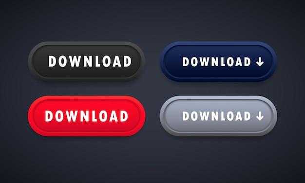 Jeu de boutons de téléchargement. pour application mobile, site web. vecteur sur fond isolé. eps 10.