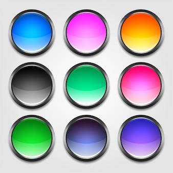 Jeu de boutons vides colorés brillants