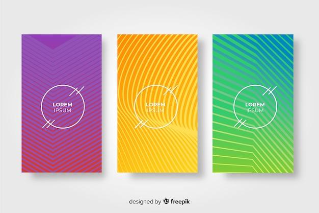 Jeu de brochures de lignes géométriques
