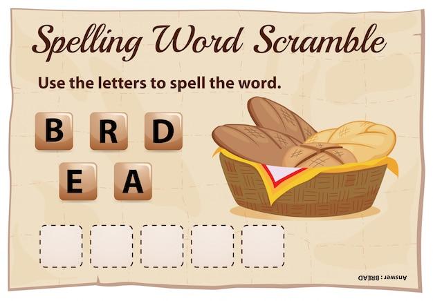 Jeu de brouillage de mot d'orthographe avec le mot pain