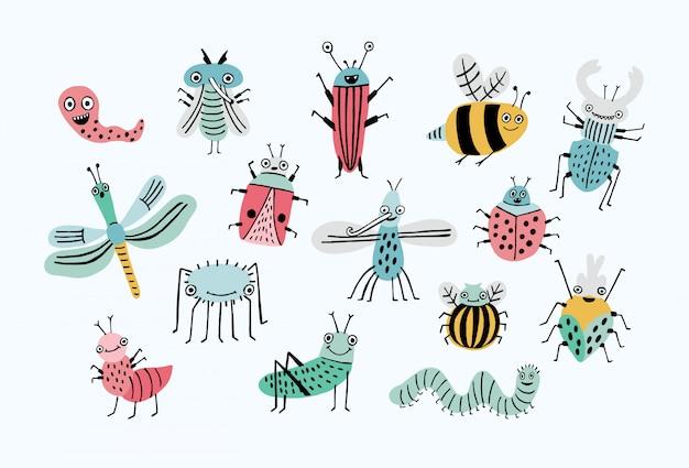 Jeu de bugs drôle. collection d'insectes de dessin animé heureux. illustration colorée dessinée à la main.