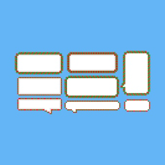 Jeu de bulle de dialogue pixel art noël.