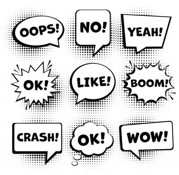 Jeu de bulles de bande dessinée rétro. bulles de dialogue comiques vides définies 9 en 1. vecteur