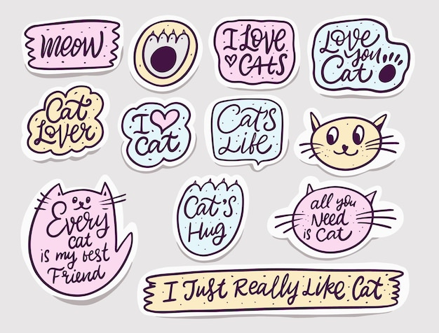 Jeu de bulles de chat dessiné à la main