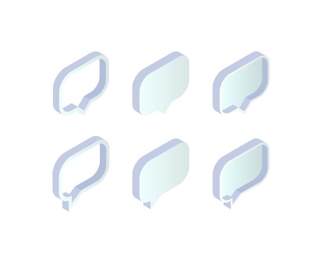 Jeu de bulles de discours isométrique. collection de boîte de message vide 3d sur fond blanc. illustration vectorielle