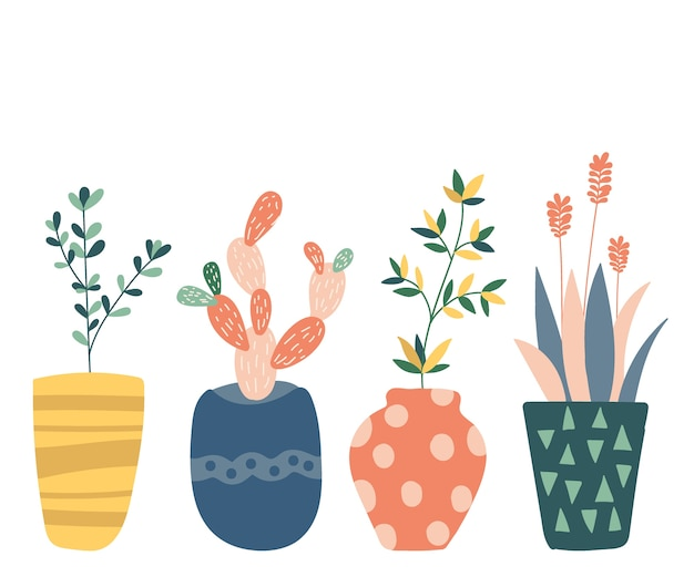 Jeu de cactus dessinés à la main