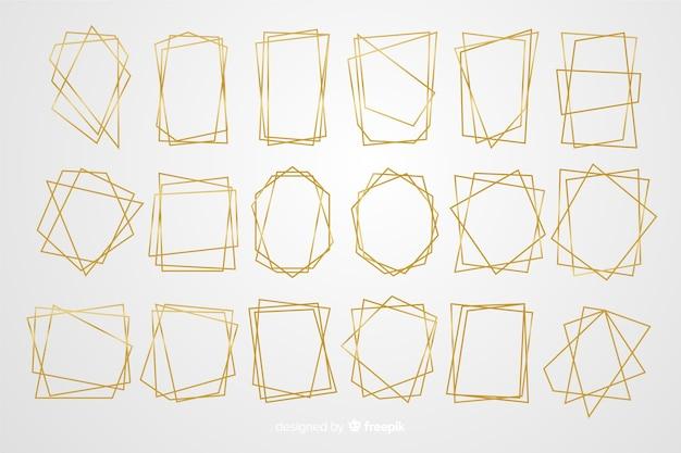 Jeu de cadre doré polygonal