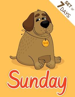 Jeu de calendrier hipster dimanche chien en semaine