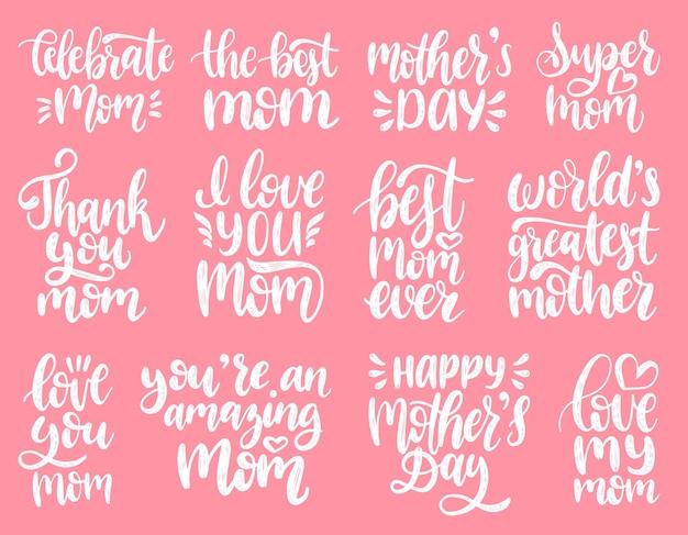 Jeu de calligraphie de la fête des mères. collection de phrases manuscrites