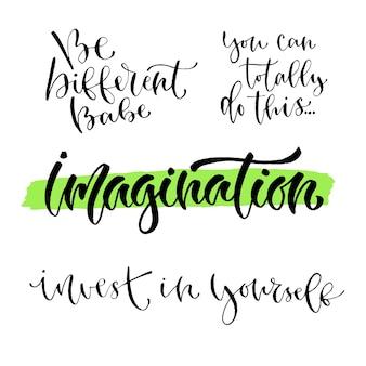 Jeu de calligraphie inspirée de vecteur. imprimés modernes à la main et design de t-shirt.